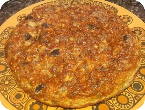 tortilla berenjenas champiñones y paramesano