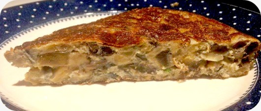 tortilla de berenjena champiñones y parmesano